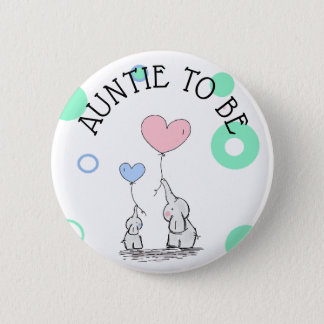 Auntie To Be Elephant Baby Shower Button