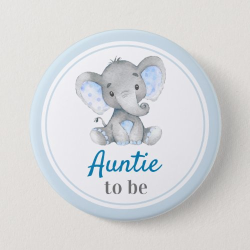 Auntie to be New Aunt Baby Boy Shower Elephant Button