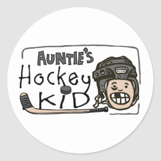 Auntie's Hockey Kid Classic Round Sticker