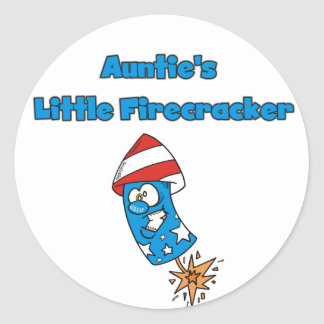 Auntie's Little Firecracker T-shirts and Gifts Classic Round Sticker