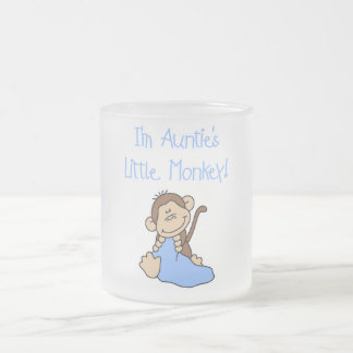 Auntie's Little Monkey Blue T-shirts and Gifts Frosted Glass Coffee Mug