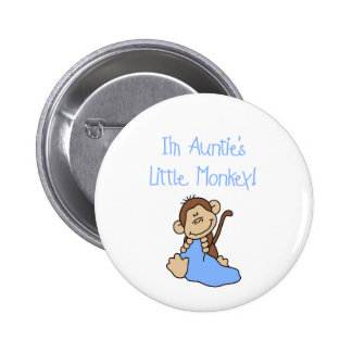 Auntie's Little Monkey Blue T-shirts and Gifts Pinback Button