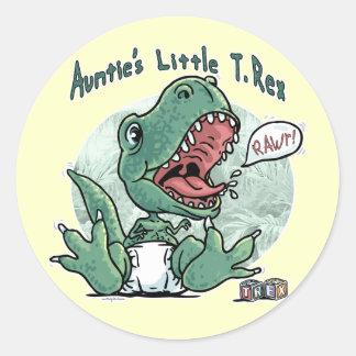 Auntie's Little T. Rex by Mudge Studios Classic Round Sticker
