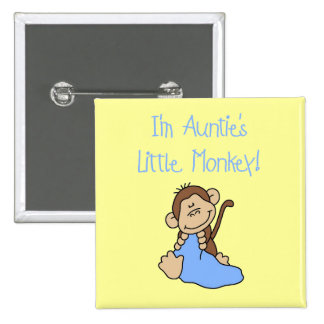 Auntie's Monkey - Blue Tshirts and Gifts Button