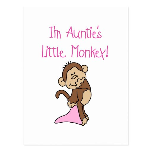 Auntie's Monkey - Pink Tshirts and Gifts Post Cards
