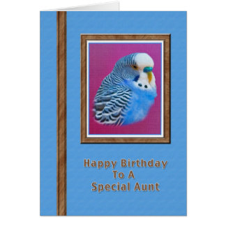 Aunt's Birthday Card with Blue Parakeet