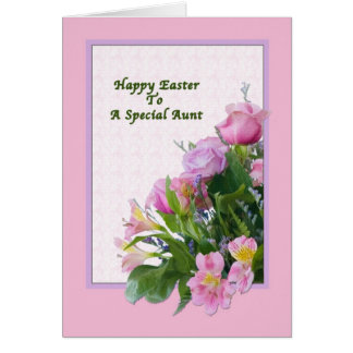 Aunt's Easter Card with Spring Flowers