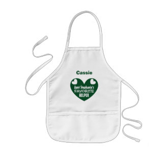 Aunt's Favorite Helper with Name GREEN Heart V1CA Kids' Apron