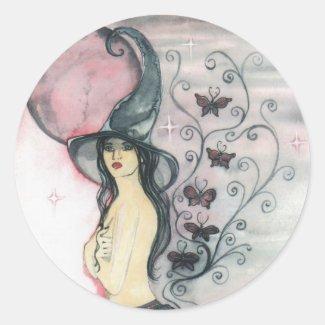 Aura at Dusk Large Circle Stickers