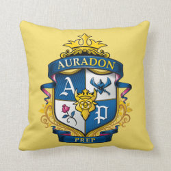 Cotton Throw Pillow with Descendants Auradon Prep Fancy Crest design