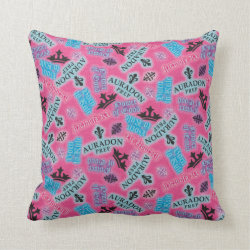 Cotton Throw Pillow with Descendants Auradon Prep Pink Pattern design