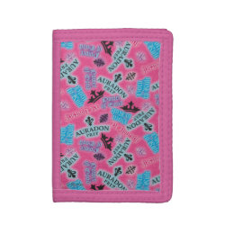 TriFold Nylon Wallet with Descendants Auradon Prep Pink Pattern design