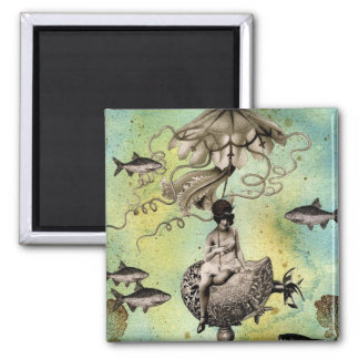 Aurelia and her Jelly Cruiser 2 Inch Square Magnet