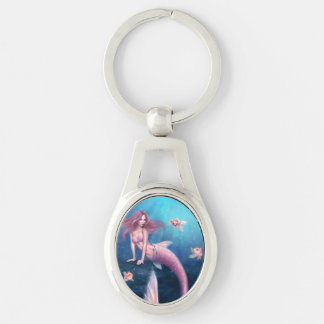 Aurelia Goldfish Mermaid Oval Keychain