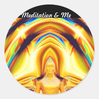 Aureola, fuerza y Meditation_ Pegatina Redonda