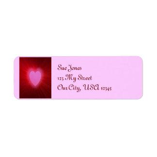 Aureola rosada etiqueta de remite