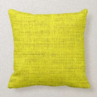 Aureolin burlap linen background throw pillow