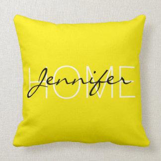 Aureolin color home monogram throw pillow