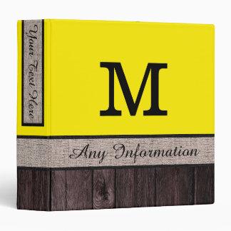 Aureolin Color Rustic Look Wood Monogram Binder