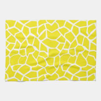 Aureolin Yellow Giraffe Animal Print Kitchen Towels
