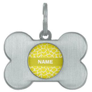 Aureolin Yellow Giraffe Animal Print Pet Name Tag