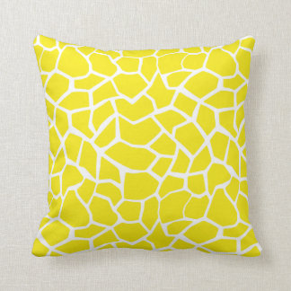 Aureolin Yellow Giraffe Animal Print Throw Pillow