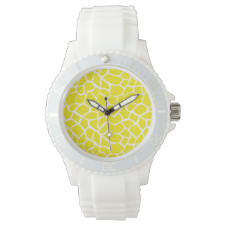Aureolin Yellow Giraffe Animal Print Watch