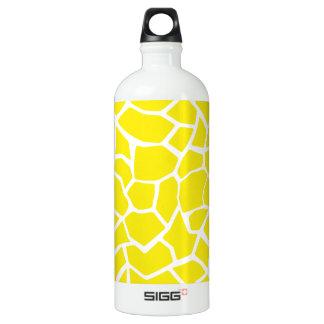 Aureolin Yellow Giraffe Animal Print Water Bottle