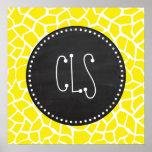 Aureolin Yellow Giraffe; Chalkboard look Posters