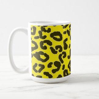 Aureolin Yellow Leopard Animal Print Coffee Mug