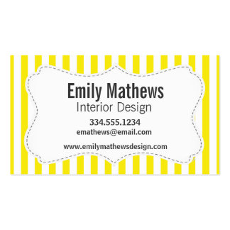 Aureolin Yellow Stripes; Striped Business Cards