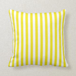 Aureolin Yellow Stripes; Striped Throw Pillow