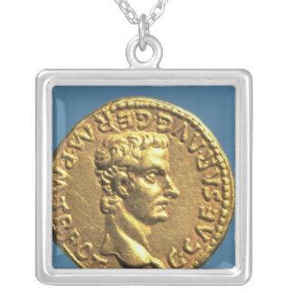Aureus  of Caligula  bareheaded Silver Plated Necklace