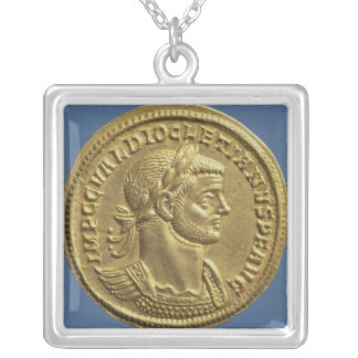 Aureus  of Diocletian  cuirassed Silver Plated Necklace