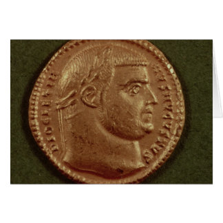 Aureus  of Diocletian  wearing a laurel wreath Greeting Cards