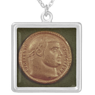 Aureus  of Diocletian  wearing a laurel wreath Silver Plated Necklace