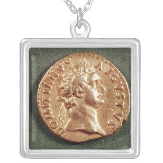 Aureus  of Domitian Silver Plated Necklace