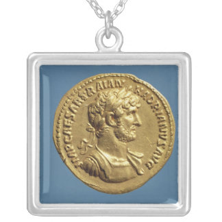 Aureus  of Hadrian Silver Plated Necklace