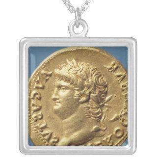 Aureus  of Nero  wearing a laurel wreath Silver Plated Necklace