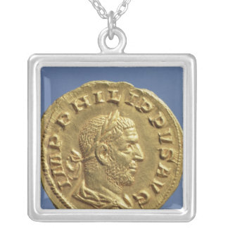 Aureus  of Philip the Arab Silver Plated Necklace