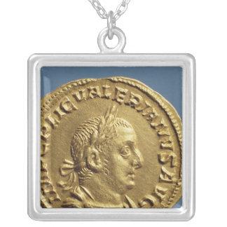 Aureus  of Valerian I Silver Plated Necklace
