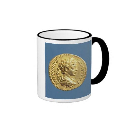 Aureus  with head of Carcalla  grapes Ringer Coffee Mug
