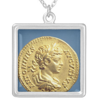 Aureus  with head of Carcalla  grapes Silver Plated Necklace