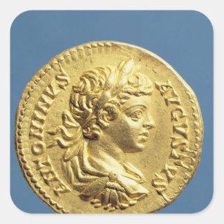 Aureus  with head of Carcalla  grapes Square Sticker