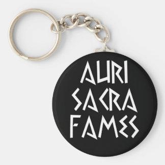 auri sacra fames basic round button keychain