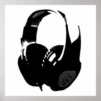 Auricular blanco negro del arte pop