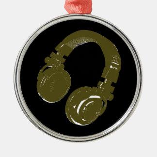 auricular de los discs jockeyes adorno navideño redondo de metal