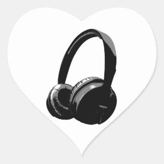 Auricular del arte pop pegatina en forma de corazón
