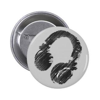 auricular negro del disc jockey de la música pin redondo de 2 pulgadas