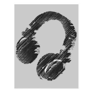 auricular negro del disc jockey de la música postales